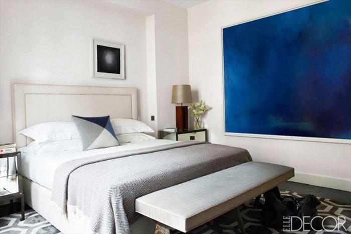 decoração de quartos de casal com cinza e azul