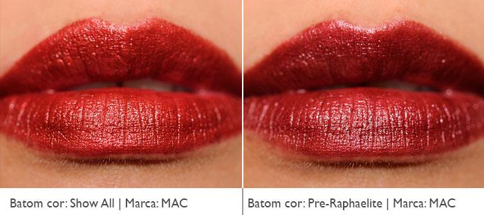 Batons vermelhos metálicos da MAC