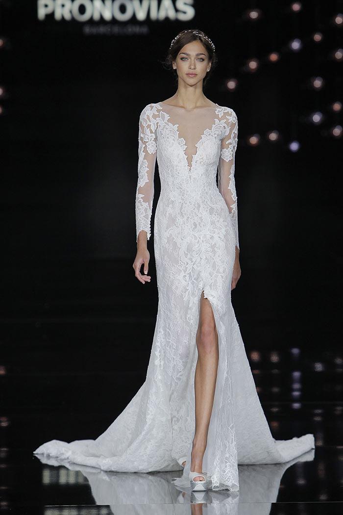 Vestido de noiva manga longa com renda