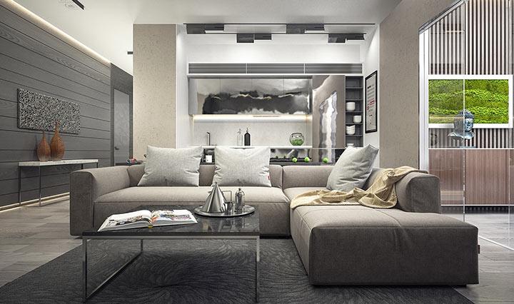 Sala minimalista em cinza