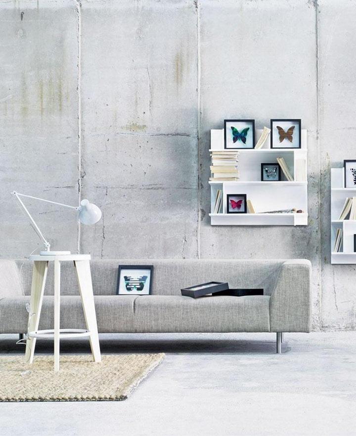 Sala minimalista cinza