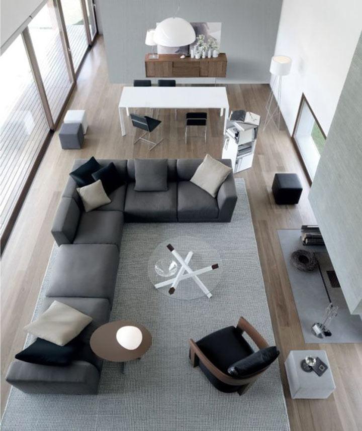 Sala minimalista visão de cima