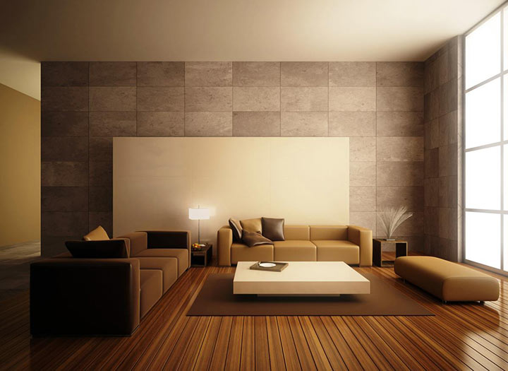 Salas minimalistas piso de madeira