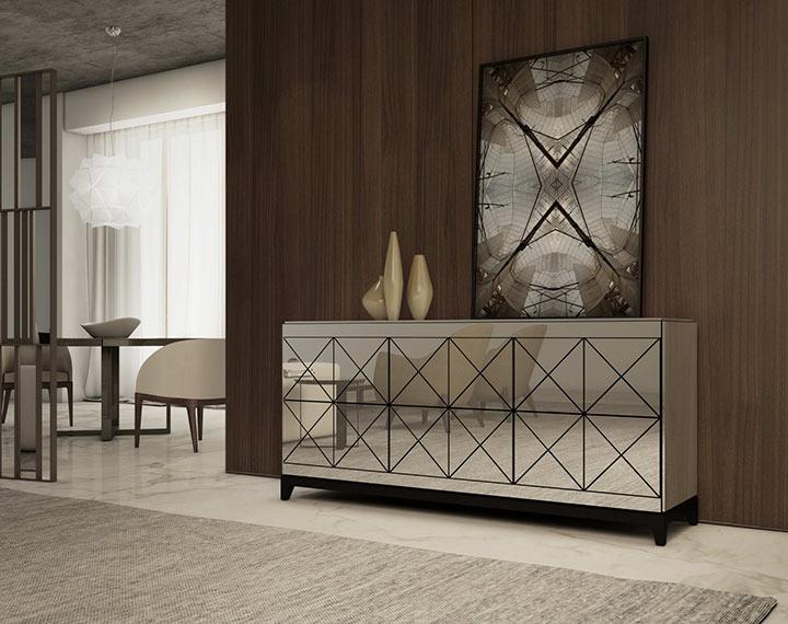 Salas minimalistas com espelho