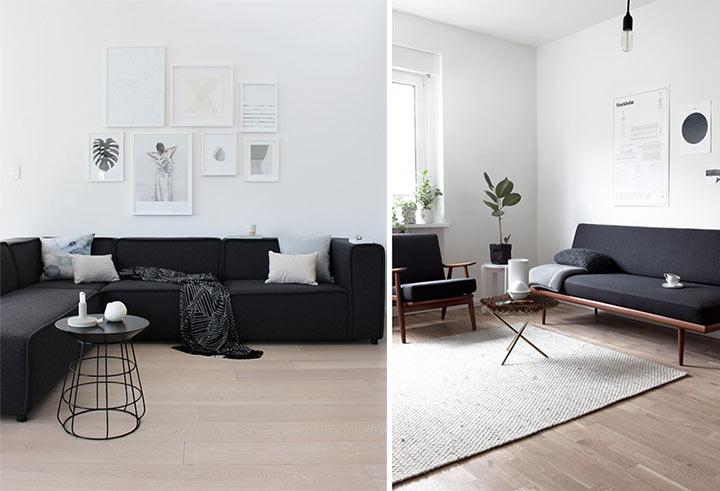 Salas minimalistas em preto e branco