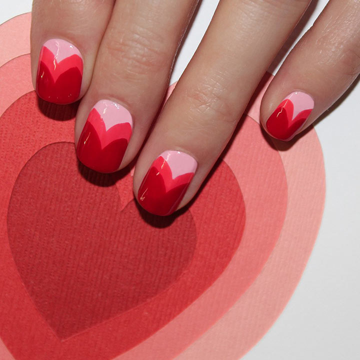 Unhas decorates para Valentine's Day