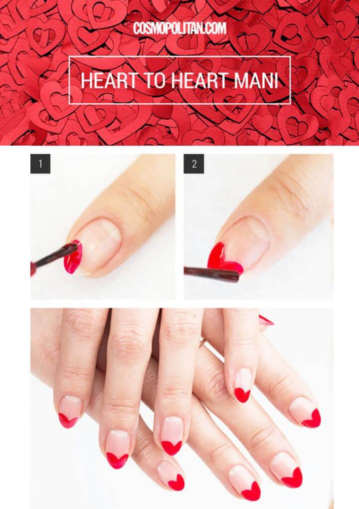 Unhas decoradas vermelhas de coração