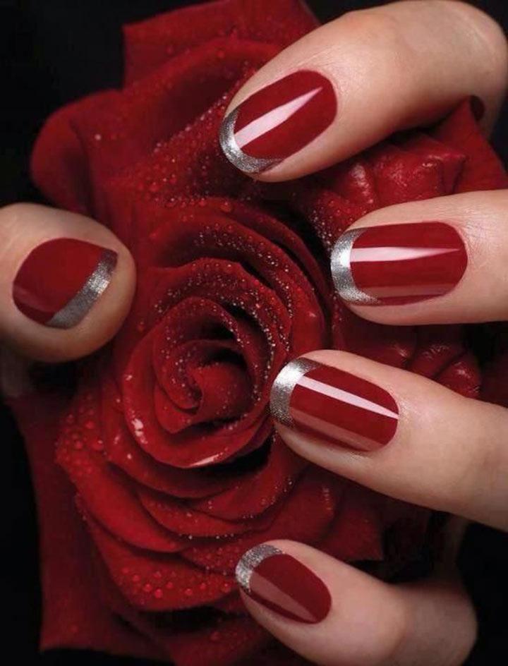 Unhas decoradas vermelhas francesinha
