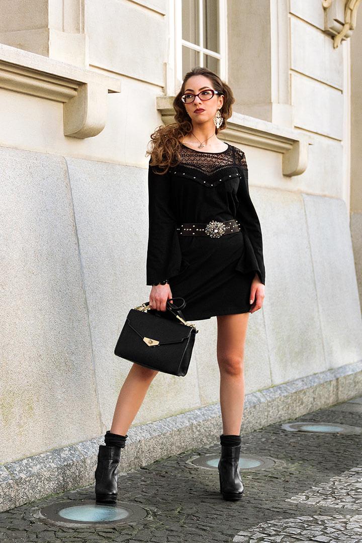 Vestido curto preto para dia - Manu Luize