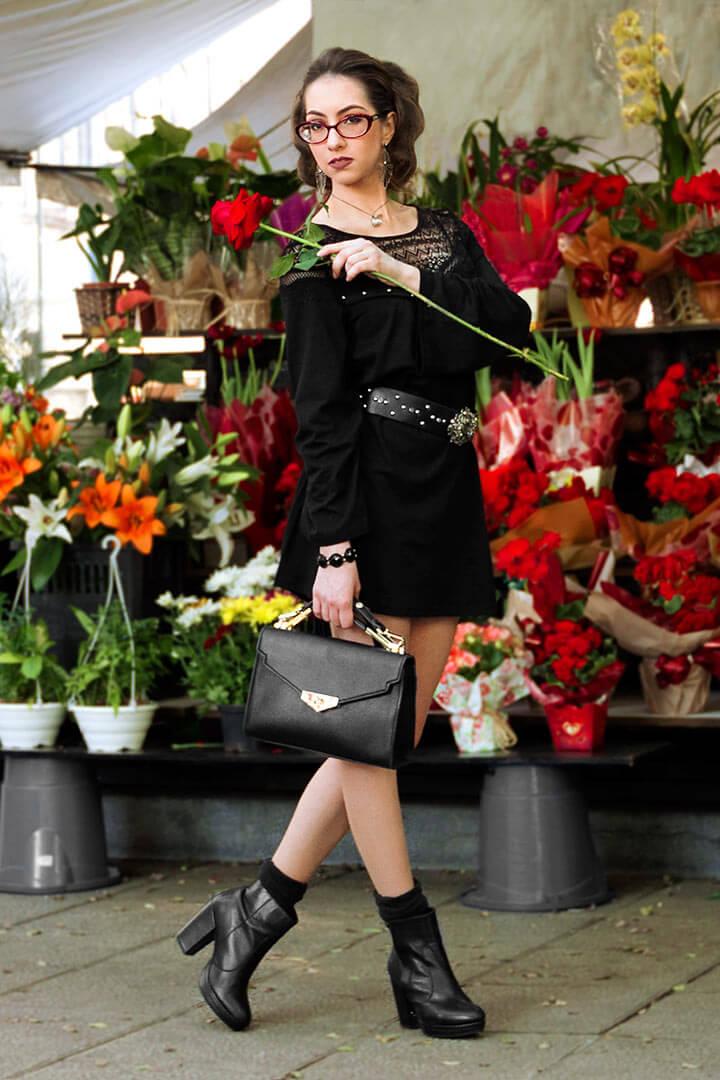Vestido curto preto, look outono/inverno