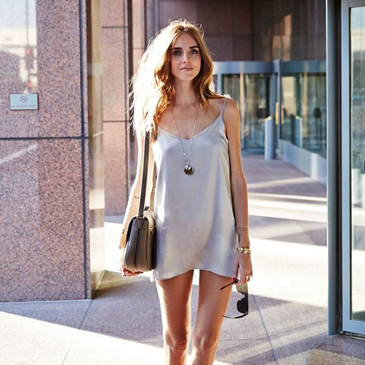 Chiara Ferragni com slip dress