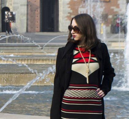 Look com vestido de Lã em Milão