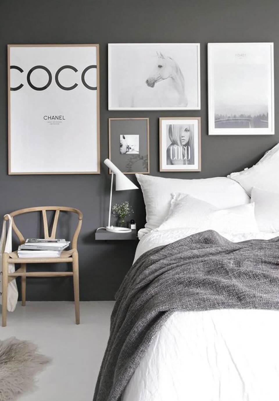Quartos decorados cinza