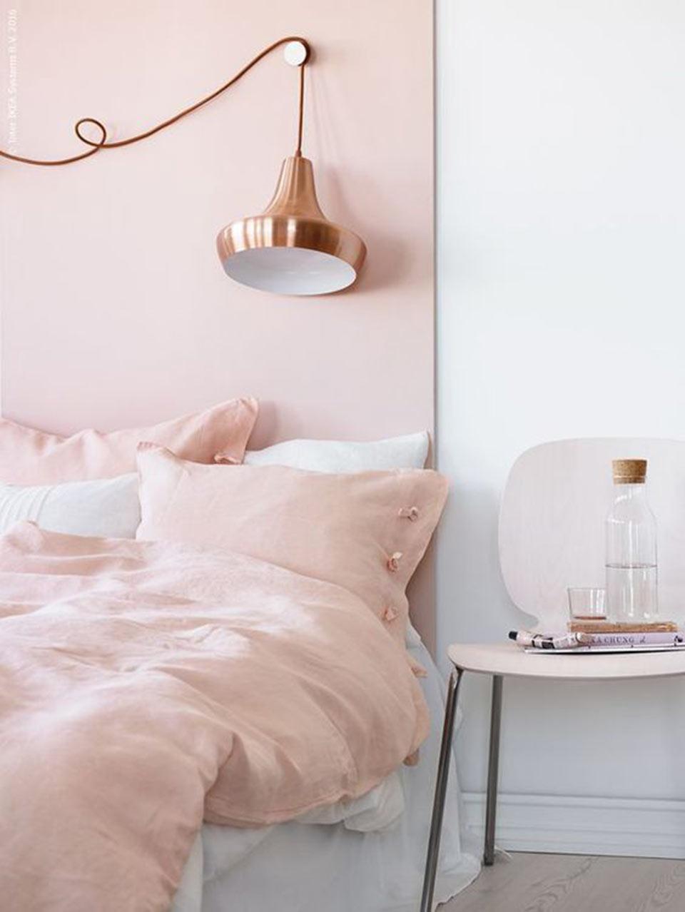 Quartos decorados em rosa blush
