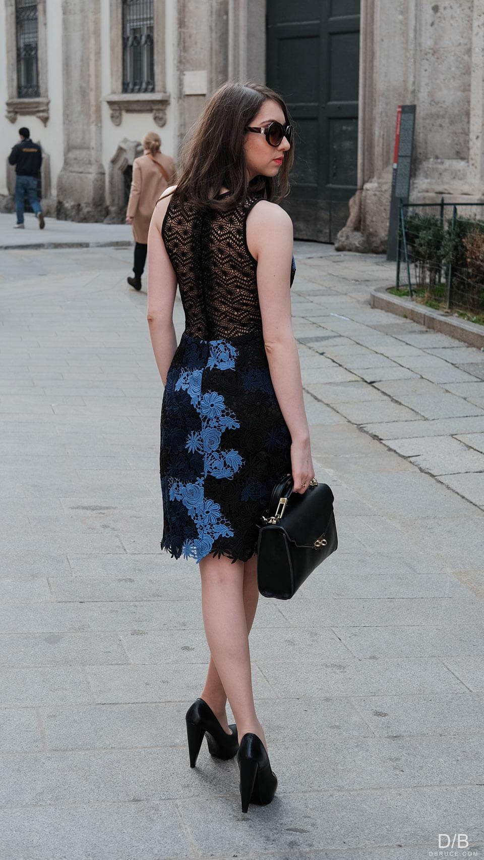 Vestido floral de guipir de costas - Manu Luize