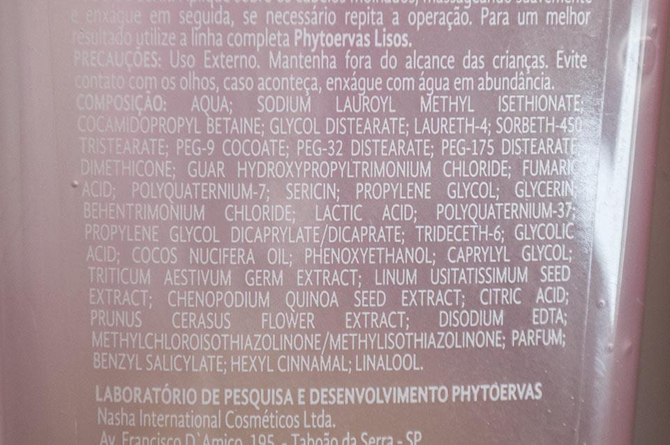 Ingredientes Shampoo Phytoervas lisos