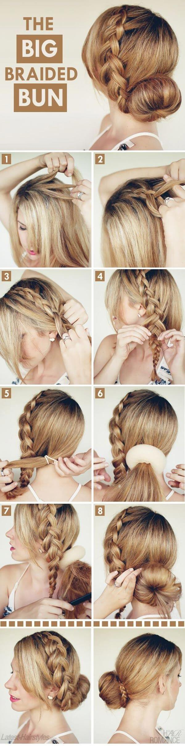 Big braided hairstyle bun