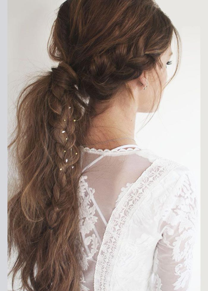 Braided hairstyle with pony tail