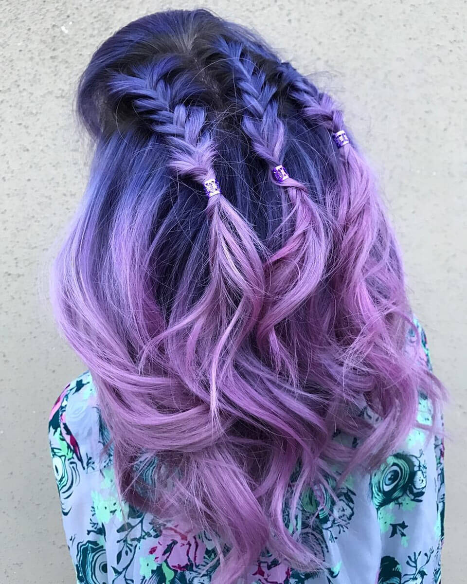 Cabelo roxo e lilás