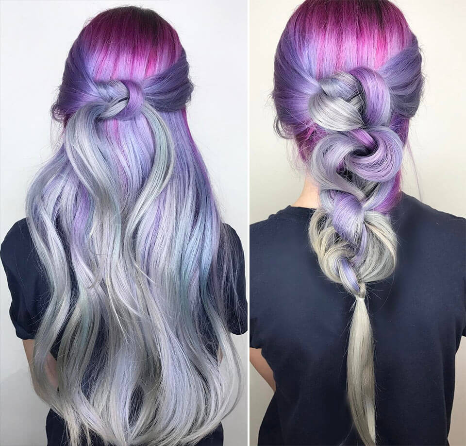 Penteado em cabelos coloridos