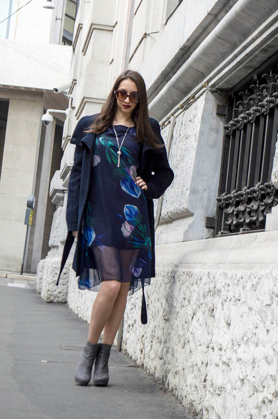 Floral Dress with coat in Milan