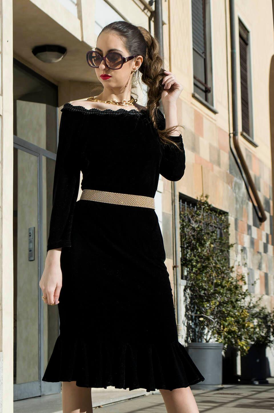 Velvet dress outfit - Manu Luize