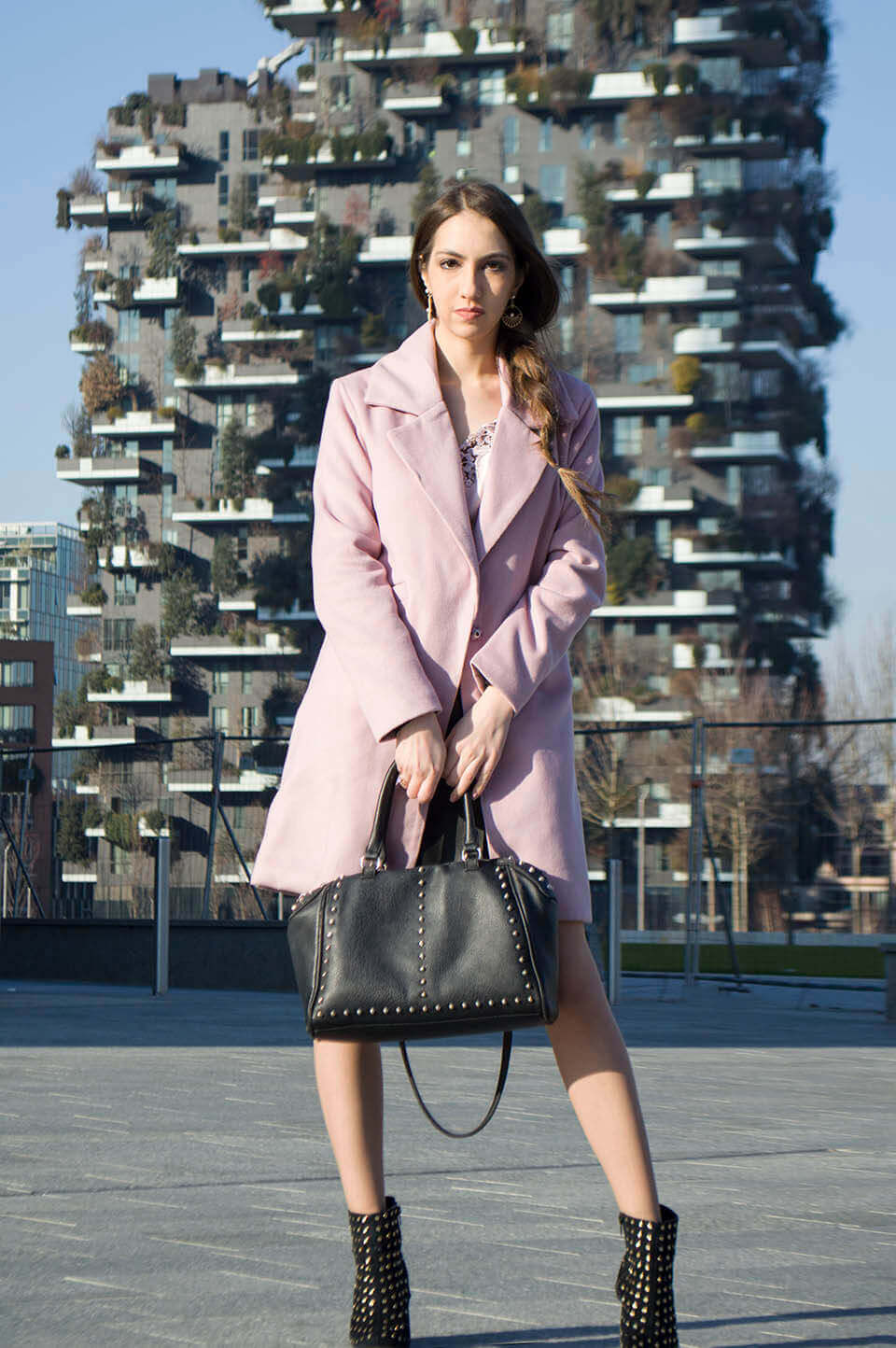 Powder pink coat for winter