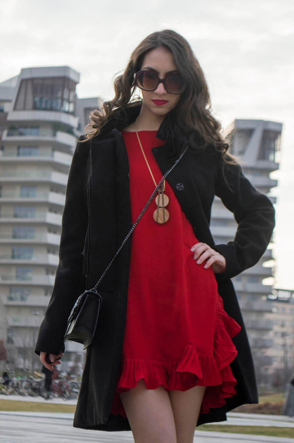 Red dress outfit for fall/winter