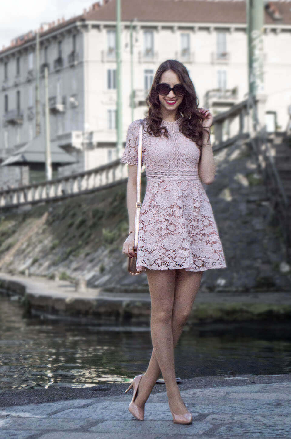 Pink lace dress by Popjulia