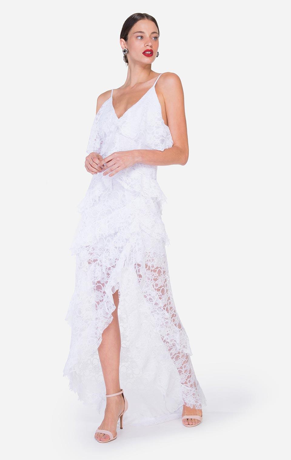Comprar vestido branco longo de renda