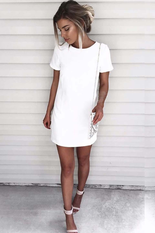 Look vestido branco curto