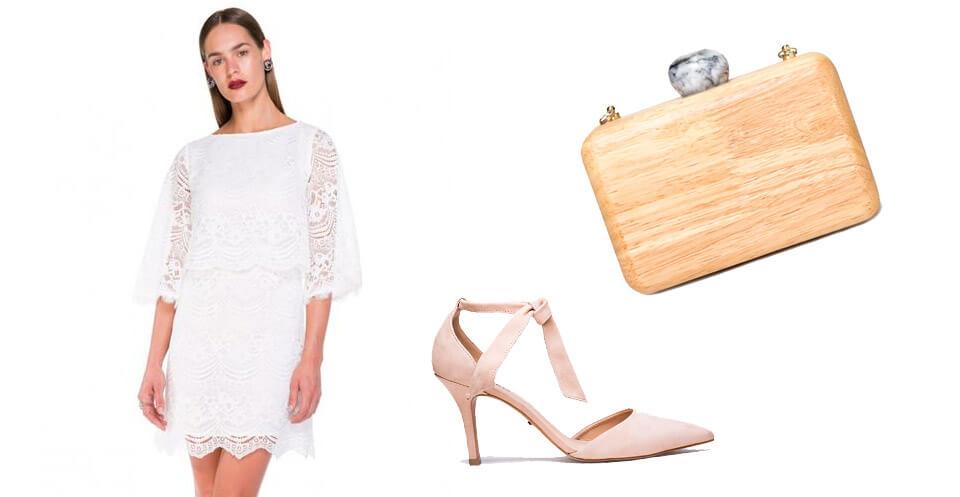Vestido branco com acessórios nude