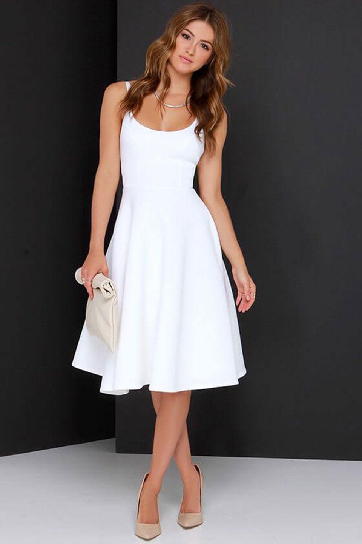 Vestido branco curto saia A