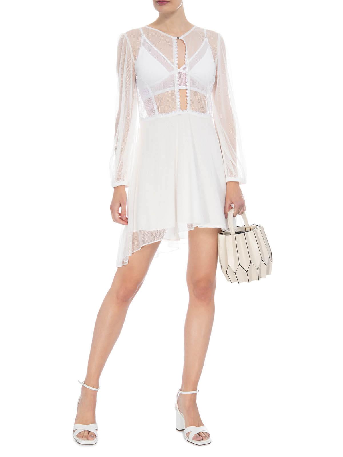 Vestido branco curto de tule