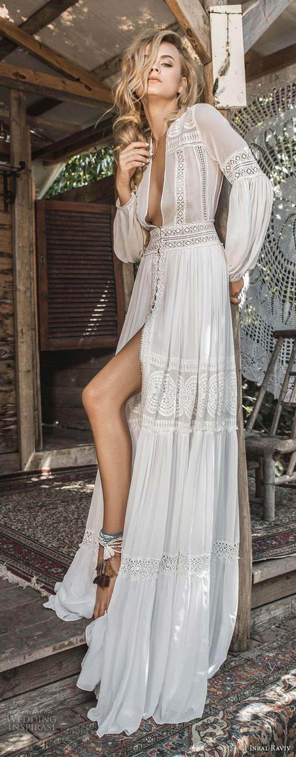 Vestido branco longo boho