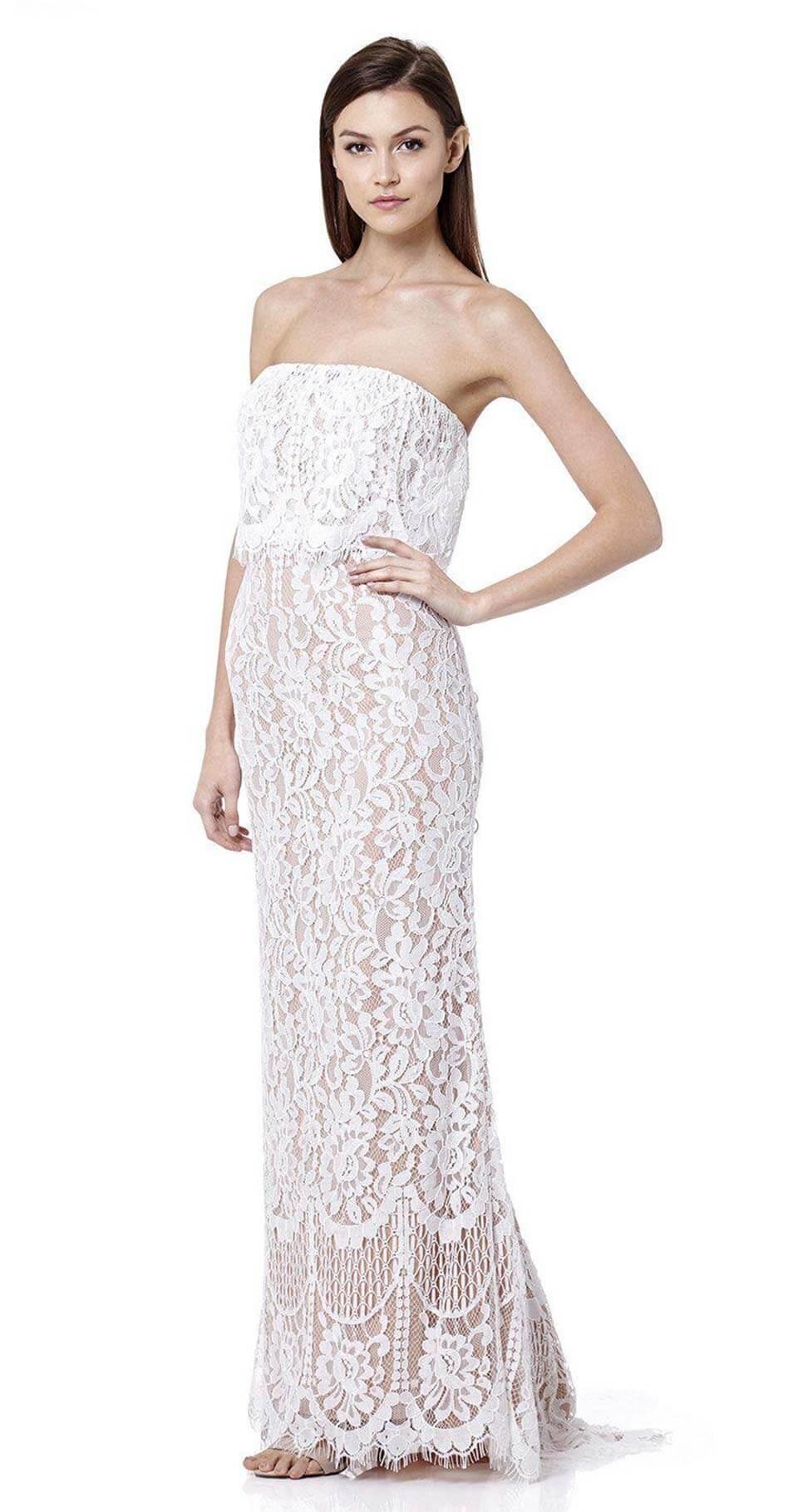 Vestido branco longo de renda