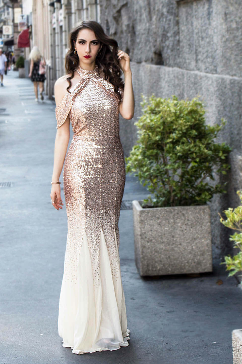 Bridesmaid dress in sequins