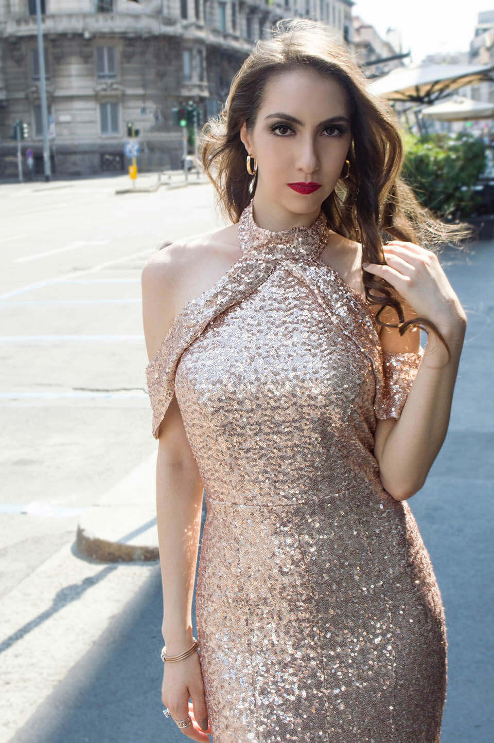 Maxi dress: sequins party dress