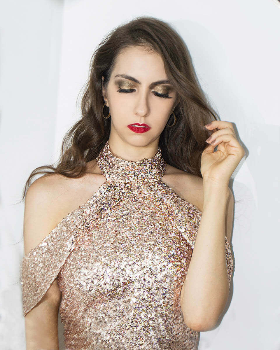 Party makeup: sequin dress
