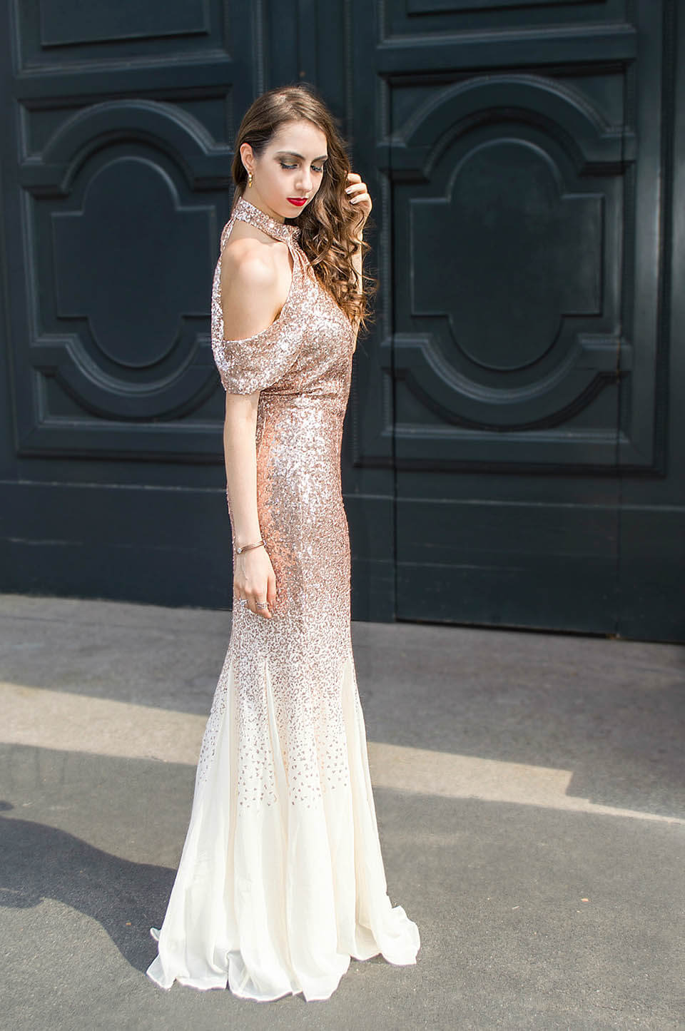 Rose gold sequin long dress
