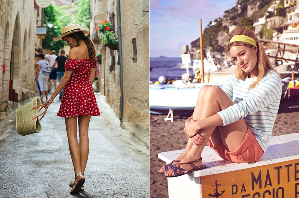 French style: summer flat sandals