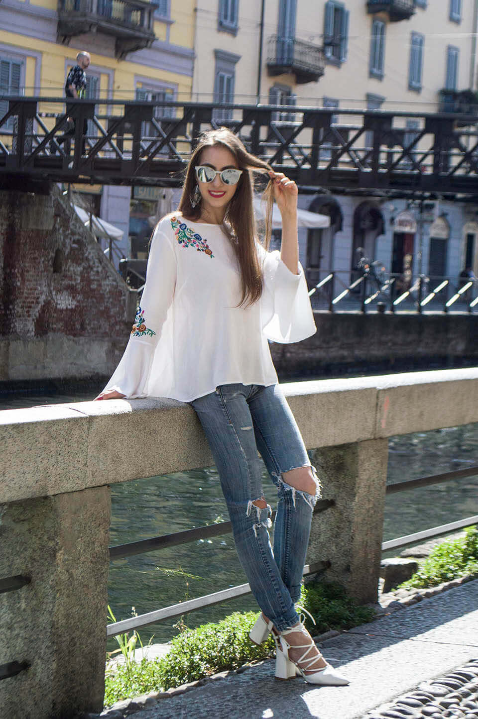 Denim outfit with white and floral top
