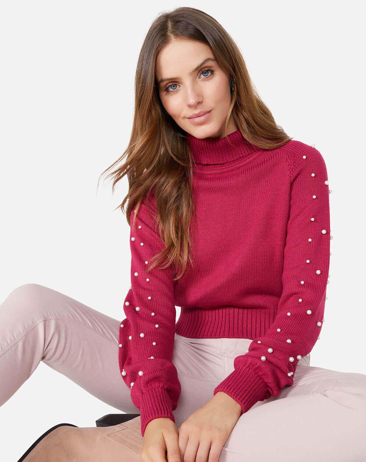 Suéter com pérolas