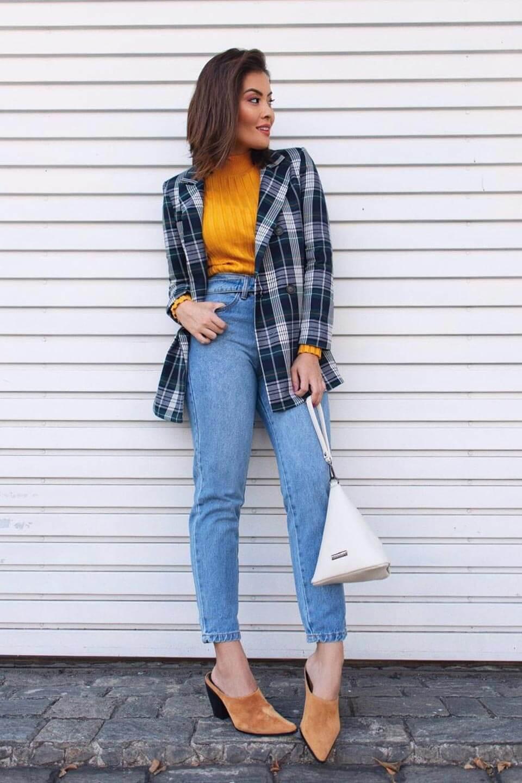 Look xadrez com jeans