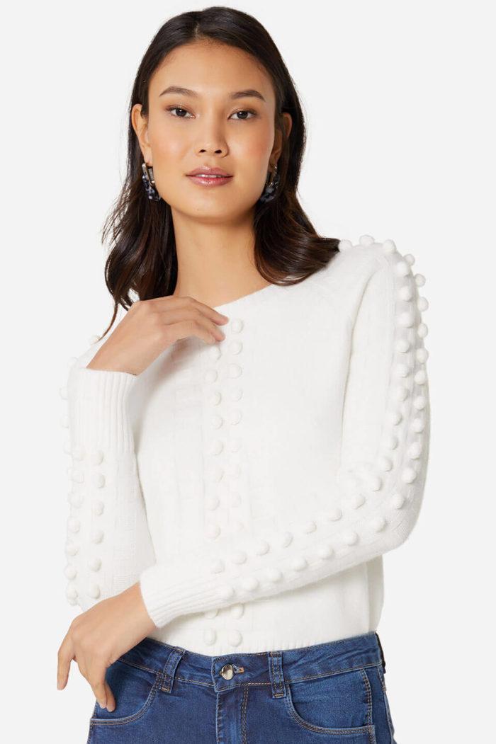 Suéter branco: roupas de frio