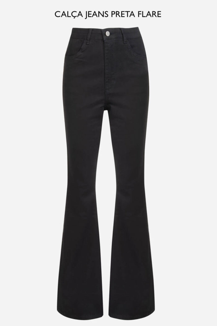 Calça jeans preta flare