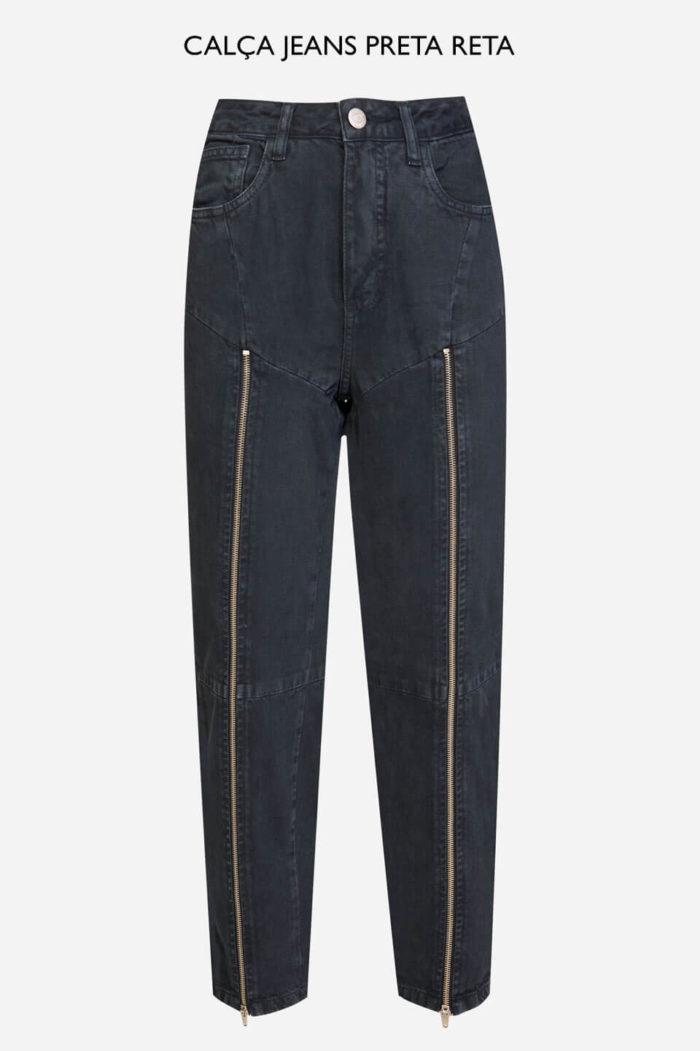 calça jeans preta reta