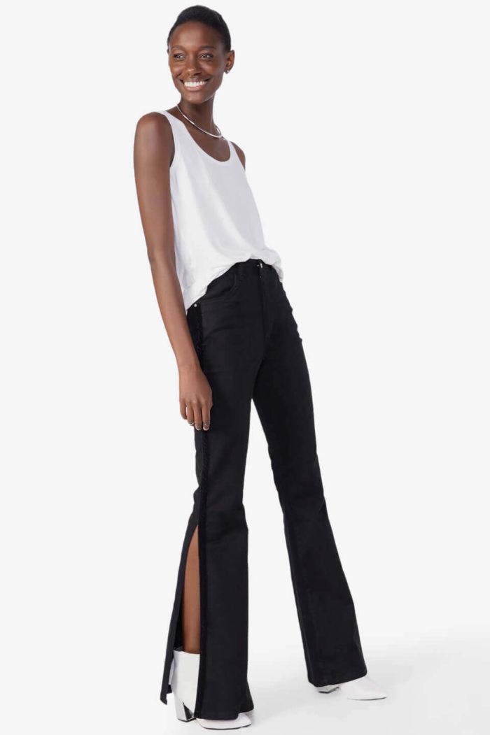 look com calça preta jeans