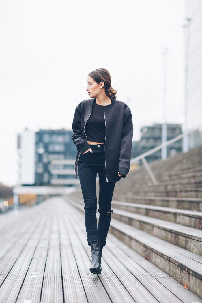 look de inverno com calça preta