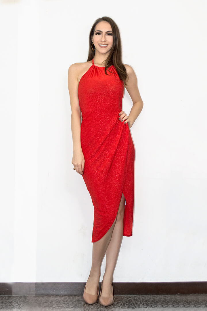 Red Christmas midi dress
